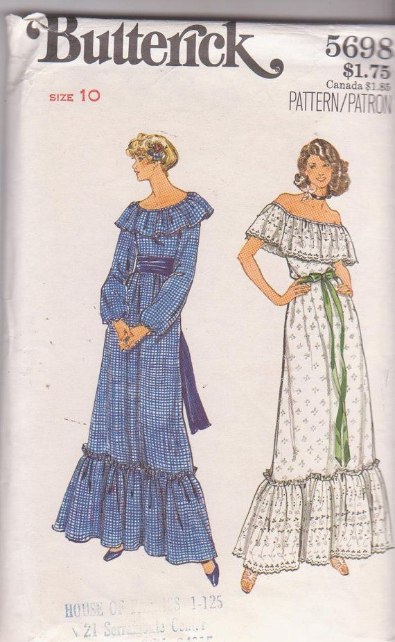1970s vintage sewing pattern for peasant style by beththebooklady, $9.99
