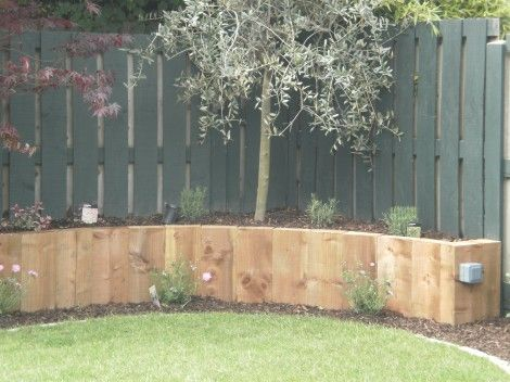 Pressure treated pine sleepers for raised bed gardening.