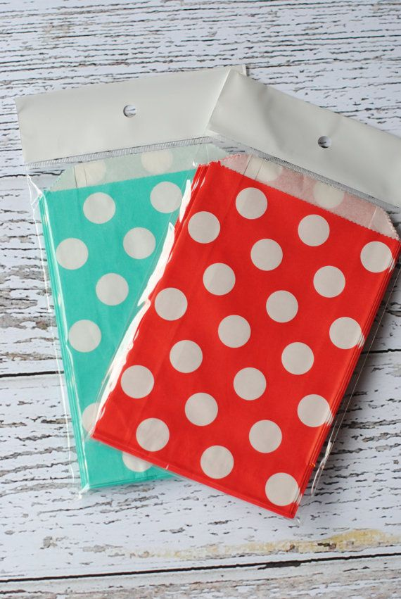 24 Red and Aqua Dr. Suess Party Themed Favor Treat bags Polka Dot Favor Candy Buffet Party Favors Goodie Popcorn Bags in Bulk Christmas on Etsy, $4.30