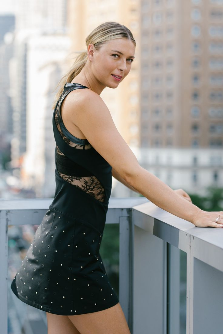Maria Sharapova wears the NikeCourt Maria Sharapova x Riccardo Tisci Stadium Dress at Nike's New York headquarters