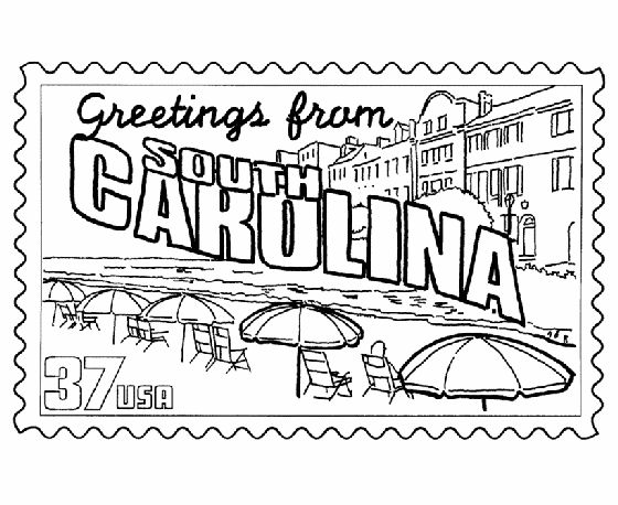 South Carolina State Stamp Coloring Page