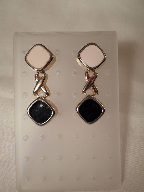 ENAMEL DANGLE EARINGS  Pierced  Beige  Black  Gold  Diamonds  Modernist  Art Moderne  Retro  Chic  Hipster  Jewelry  Accessories