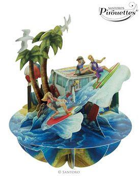 Beach and Surfing 3D Card | Santoro London