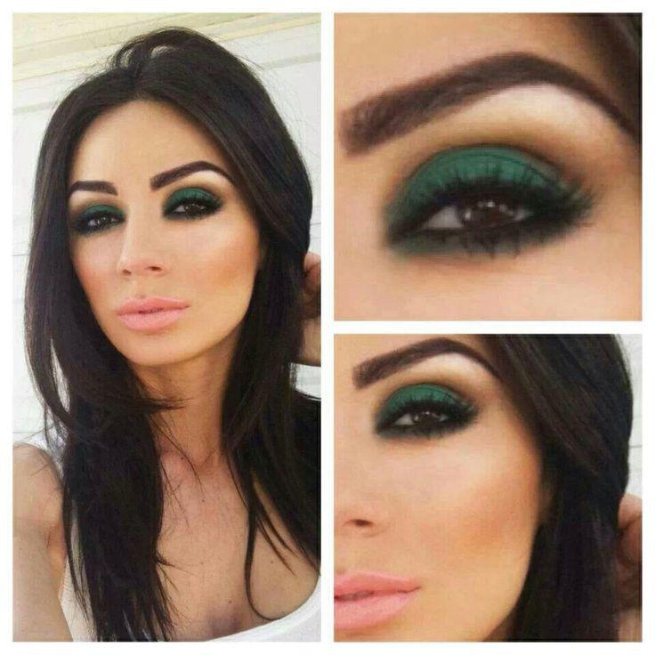 Brown eyes defined by Smokey green eye shadow