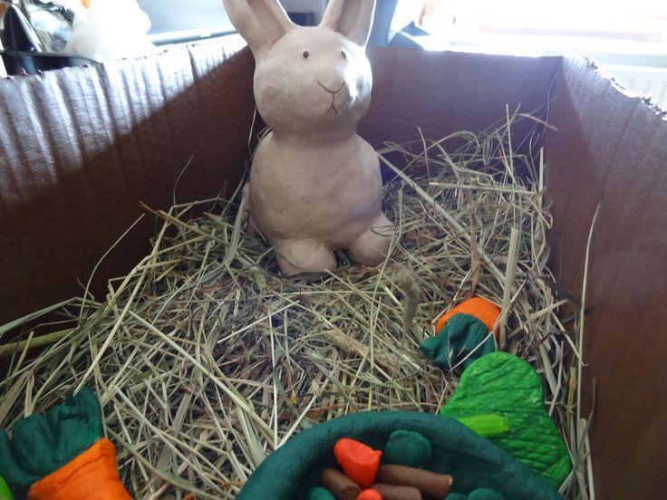 Dier in klei - konijn: Obie + eten in zoutdeeg