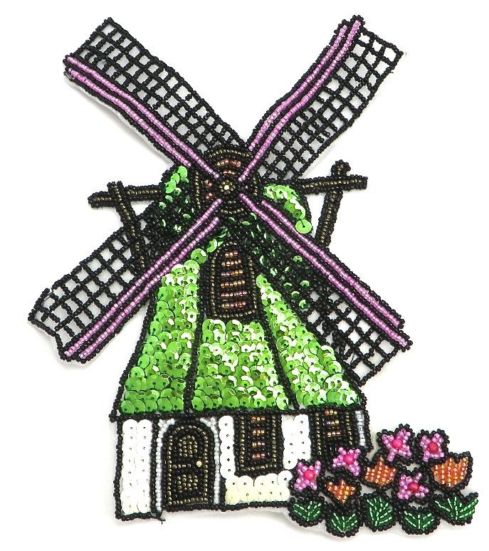 """Windmill and House 6.75"""" x 8.5"""""""