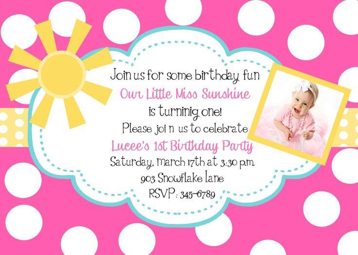 35 best Stellau0027s first birthday party images on Pinterest Sunshine - fresh birthday party invitation ideas wording