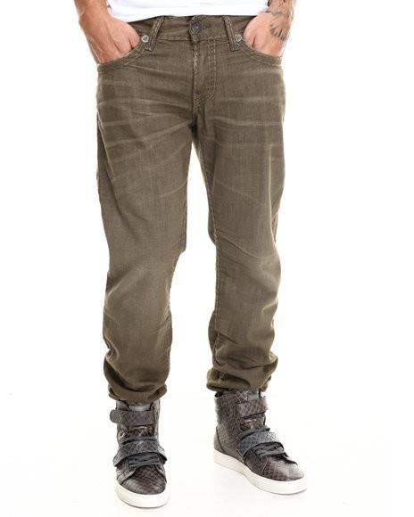 Оливковые мужские джинсы