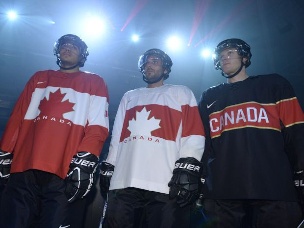 The new Canadian Olympic team hockey jerseys.- ugly ugly ugly - looks like something a third grader designed