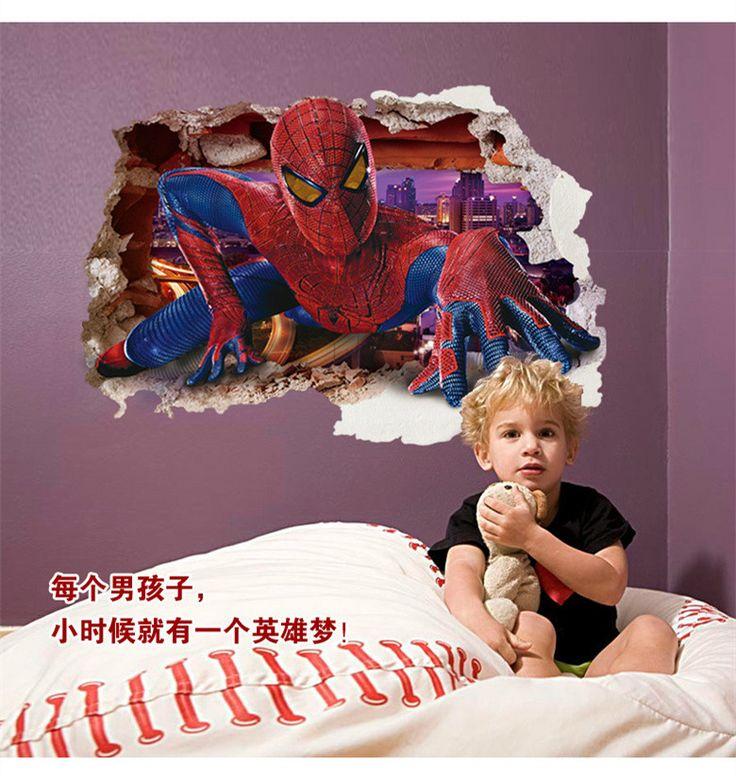 Cheap 60*90 cm Spiderman Cartoon Movie 3D casa Popolare tatuaggi adesivo da parete parede adesivo per la camera dei bambini decor kid regali carta da parati, Compro Qualità Adesivi murali direttamente da fornitori della Cina:  nome del prodotto: può rimuovere gli adesivi muralimateriale del prodotto: PVCformato del