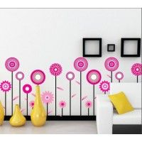 Tall Pink Flowers decal. Wall stickers are available at www.kidzdecor.co.za. Free postage throughout South Africa