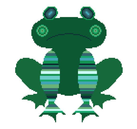 You have to kiss many frogs... Fun modern cross stitch pattern by crossstitchtheline. Great colours and simple stripes and circles make this sad looking little frog a joy to stitch!