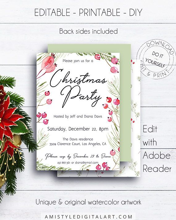 Christmas Party Invitation, with romantic watercolor Christmas berries and branches.This adorable printable invitation listing is for an instant download EDITABLE PDF so you can download it right away, DIY edit and print it at home or at your local copy shop by Amistyle Digital Art on Etsy