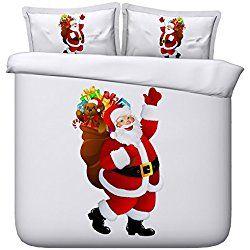 MZPRIDE White Bedding Set 3d Santa Claus Christmas Duvet Covers Queen