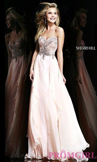 Strapless Prom Gown by Sherri Hill 3895 at PromGirl.com