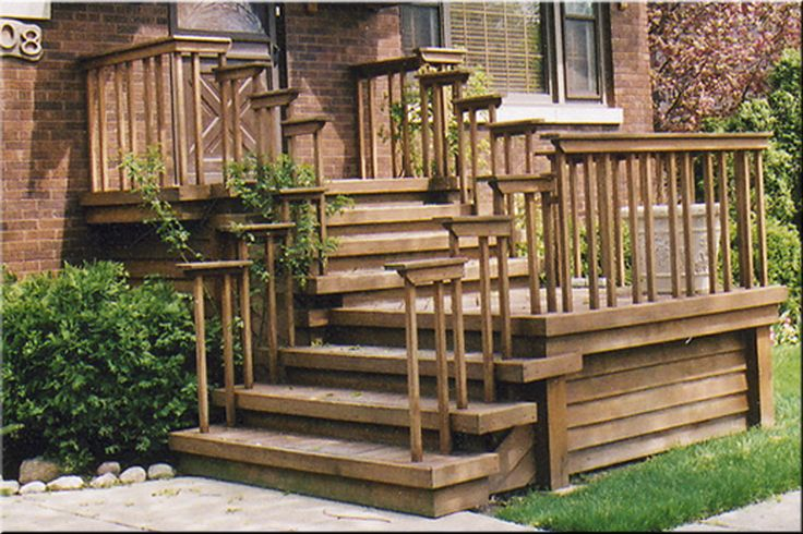 Wooden stairs w simple railing front steps redo for Front entry decks