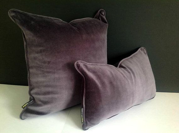 Grey Velvet Lumbar Throw Pillow Cover Grey Cushion Cover
