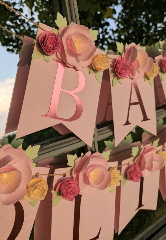 PERSONALIZED FLORAL BANNER with blush 3D paper flower peonies, Baby shower gift, Nursery sign, Custom name banner, Shabby Chic Wedding