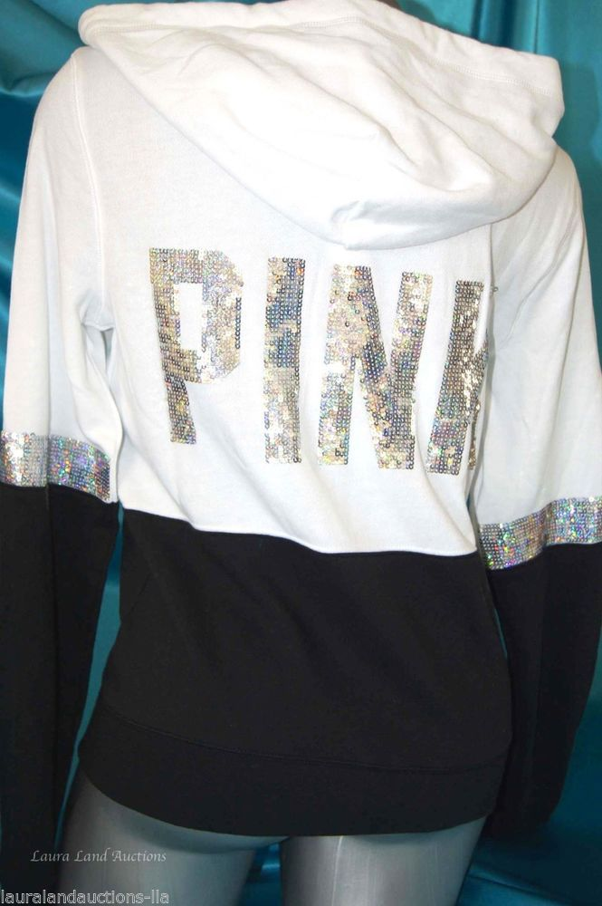 MEDIUM BACK IN STOCK GET THEM WHITE YOU CAN! BEST PRICE ON EBAY~ S,M,L~VICTORIA SECRET PINK SEQUIN BLING HOODIE PERFECT FULL ZIP BLACK WHITE~NWT #VictoriasSecretPINK #BlingHoodieSweatShirtTopEMBELLISHED