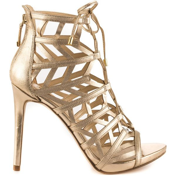 Guess Footwear Women's Anasia 2 - Gold Multi LL ($110) ❤ liked on Polyvore featuring shoes, gold, laced up shoes, yellow gold shoes, guess shoes, gold shoes and cage shoes