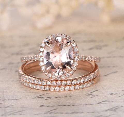 Oval Morganite Engagement Ring Pave Diamond Wedding 3 Rings Sets 14K Rose Gold 7x9mm