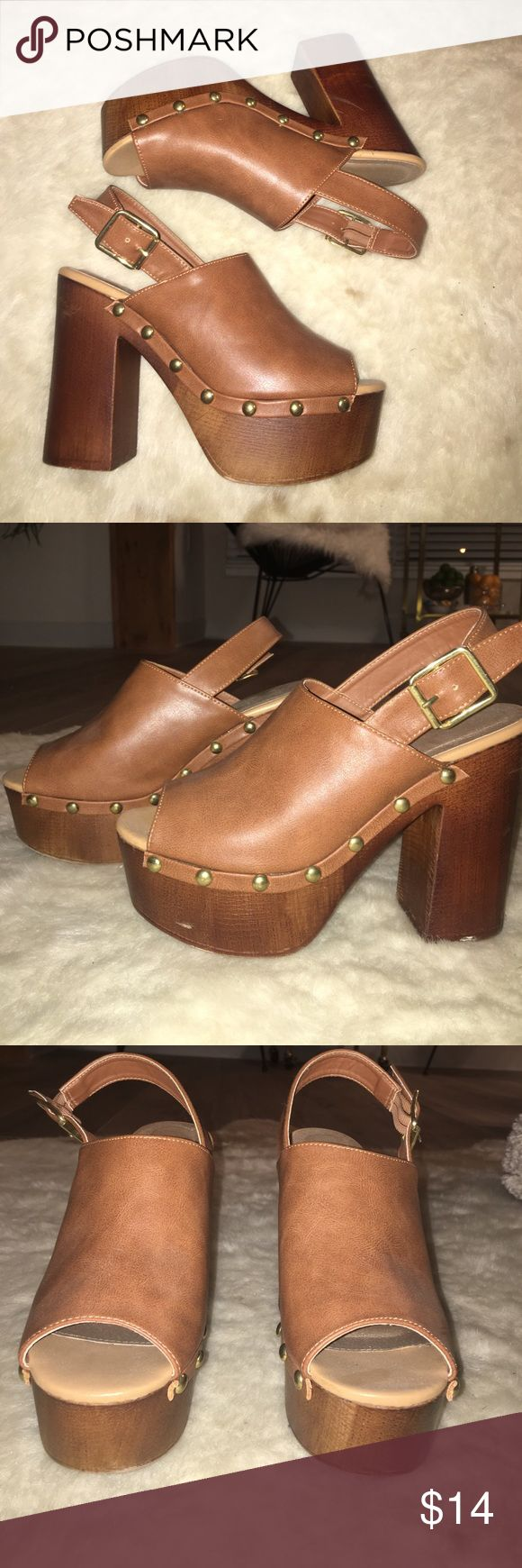 Boho style mule clogs Cognac brown, gold studs, 4.5 in heel, 1.5 in platform. Super sassy with white peasant too and jeans! Charlotte Russe Shoes Mules & Clogs