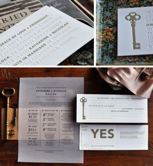 Skeleton Key Letterpress Wedding Invitations by Kate Gabriel  Be still my heart - I have long loved these invites. The gold and blind press, the vellum, i love this but I probably want it to look more vintage