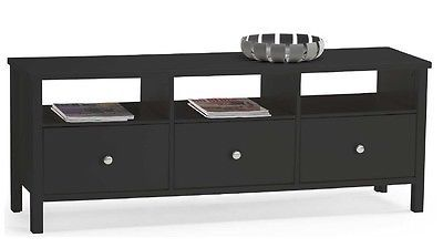 TV Stand Widescreen Unit Black Suitable for 50 Inch Television Unit 3 Drawer