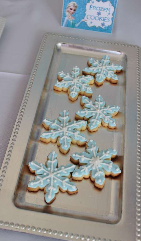 Snowflake cookies at a Frozen birthday party! See more party planning ideas at CatchMyParty.com!