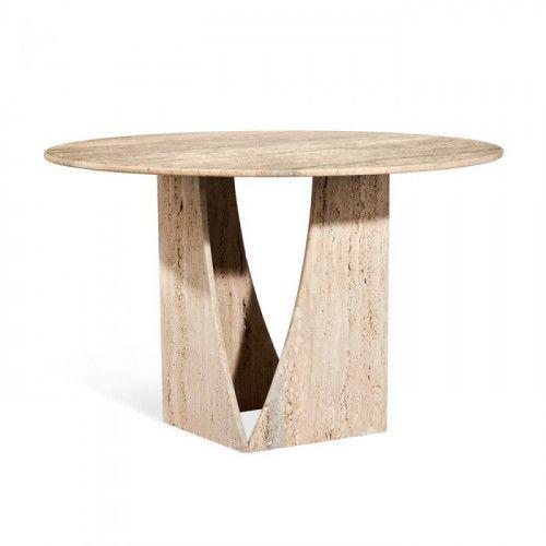 Interlude home josephine center table raw travertine in