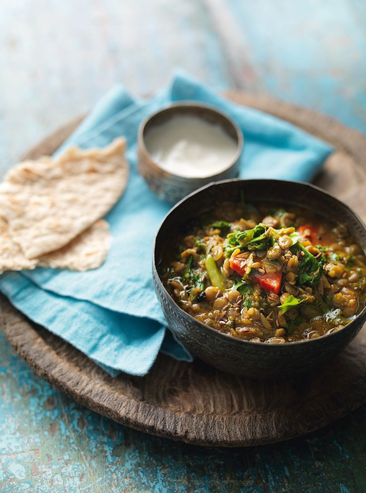 Green Lentil Curry with Kale - The Happy Foodie - Madhur Jaffrey