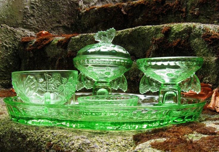 Vintage green victorian glass...