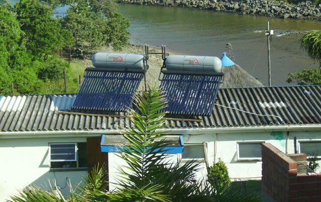 Totally Solar 300lt High pressure solar geyser on a flat roof