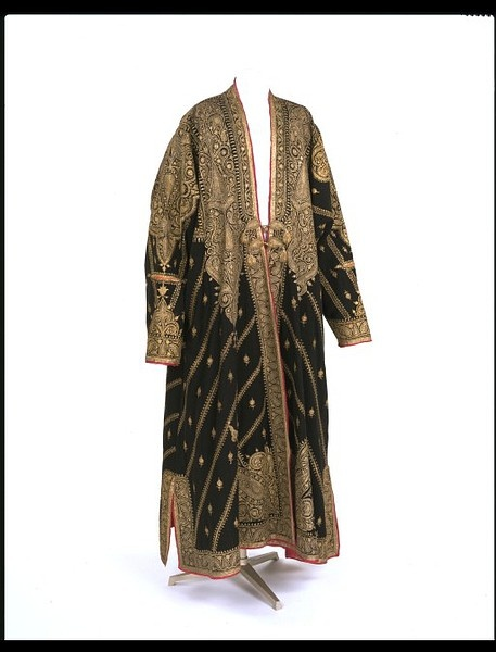 Robe; gold embroidery on black wool; Kashmir, India; 19th century.