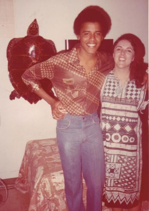 Barack Obama with his Mom
