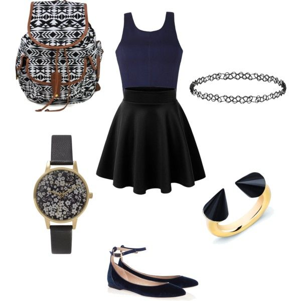 school outfit #2 by paty-porutiu on Polyvore featuring polyvore fashion style Ally Fashion Vita Fede Olivia Burton Dorothy Perkins