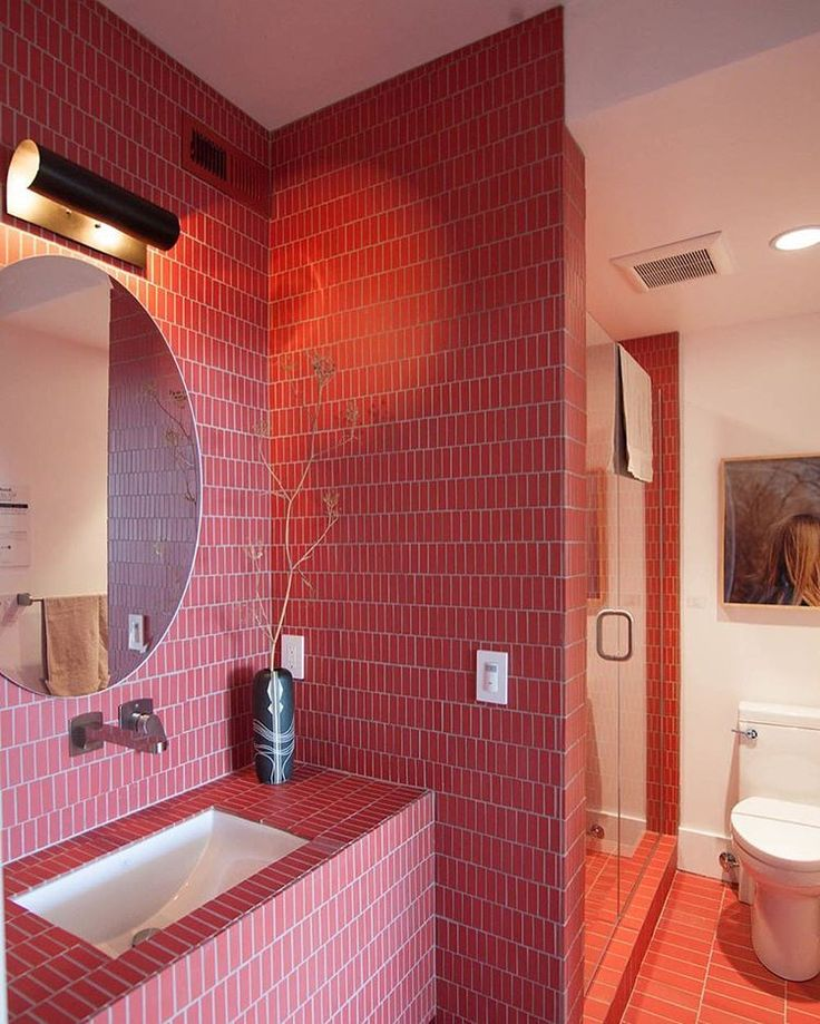 Red hot guest bathroom from the Gorgeous