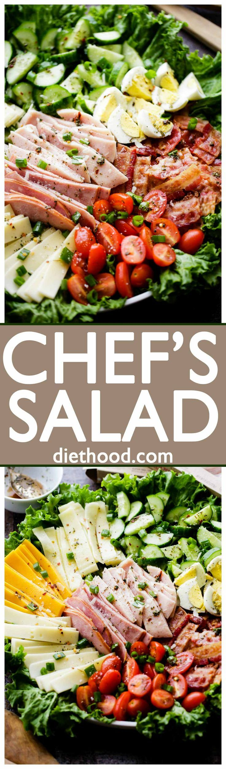 Chef's Salad Recipe - Packed with fresh veggies, eggs, deli meats, and cheese, this wonderful main dish salad makes for a perfect lunch or dinner option.