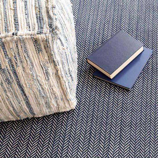 Denim Rag Woven Pouf | Fresh American   – Products