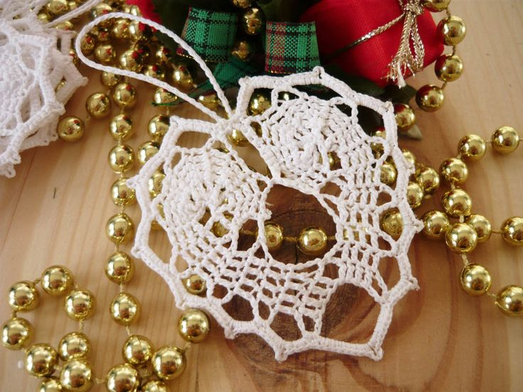 Crochet Christmas Hearts, Tree ornament, Holiday decorations, Holiday ornaments by MariAnnieArt on Etsy