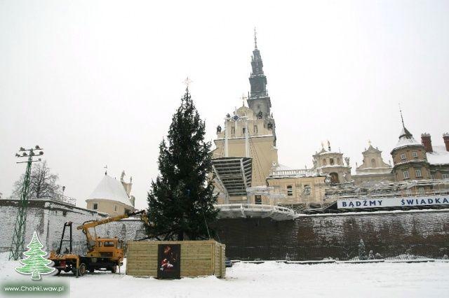 Duża choinka przed Klasztorem Jasnogórskim