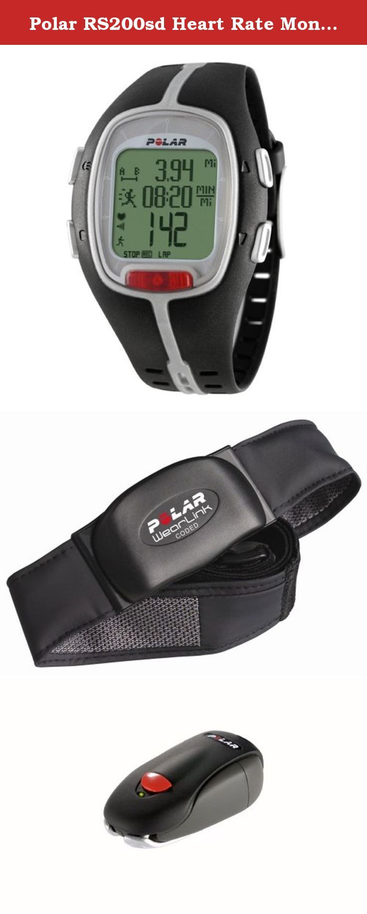 Polar RS200sd Heart Rate Monitor Watch (Black). The RS200sd was made for competitive, goal oriented runners who want to enhance their running experience. With the S1 foot pod the RS200sd provides accurate speed and distance data like the S625X so you can combine pace with heart rate data. Use the Event Countdown Timer to manage your training leading up to your next running event. You can even upload your settings to your running computer and then download your workout files to the Polar...