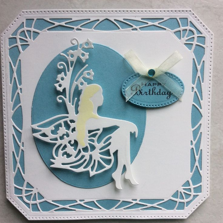 Card cut with Sue Wilson's Noble Dies - Ornate Pierced Squares. Tonic Fairy Rhoslyn.