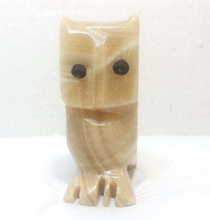 Carved Granite Stone Owl Figurine ~ Retro Collectible Bookshelf Decor by CrownVaultHomeDecor on Etsy