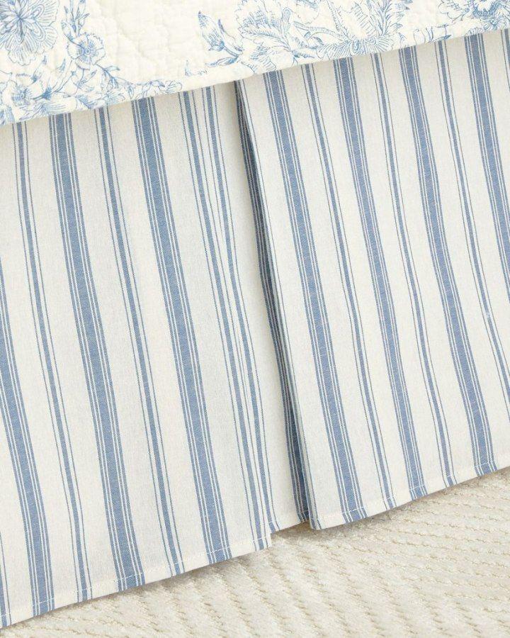 Clementina Dusk Blue Ticking Stripe Dust Ruffle By Williamsburg Ticking Stripe Bedding Ticking Stripe Striped Bedding