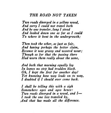 "Did you know that Robert Frost's infamous poem ""The Road Not Taken"" has a World War I back story? Follow the link to read the story."