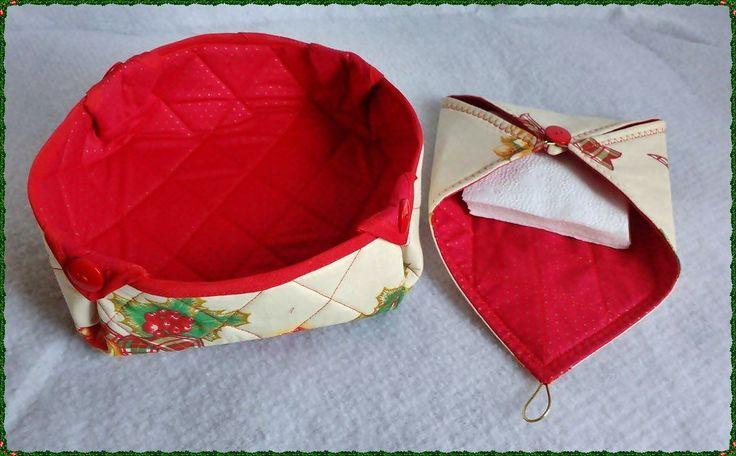 Kit com duas peças - Cesto para pão e porta guardanapos de papel. Confeccionado em tecido 100% algodão e enchimento de manta acrílica. <br> <br>** Medidas e dimensões do produto são referentes ao cesto.
