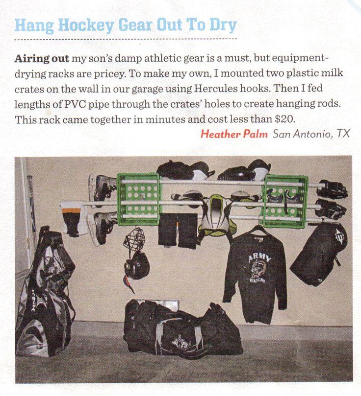 Hockey gear drying rack from Family Fun magazine reader.
