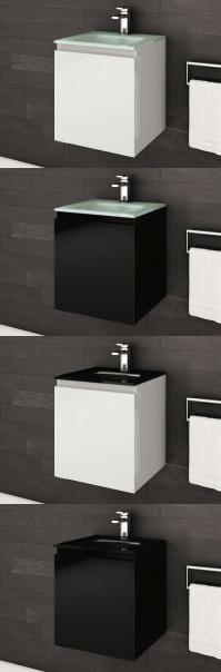 """Vanités de salle de bain 16"""" <Série Box> avec lavabo intégré  - AQUA MOBILIA. Disponible chez  Montréal - Les - Bains"""