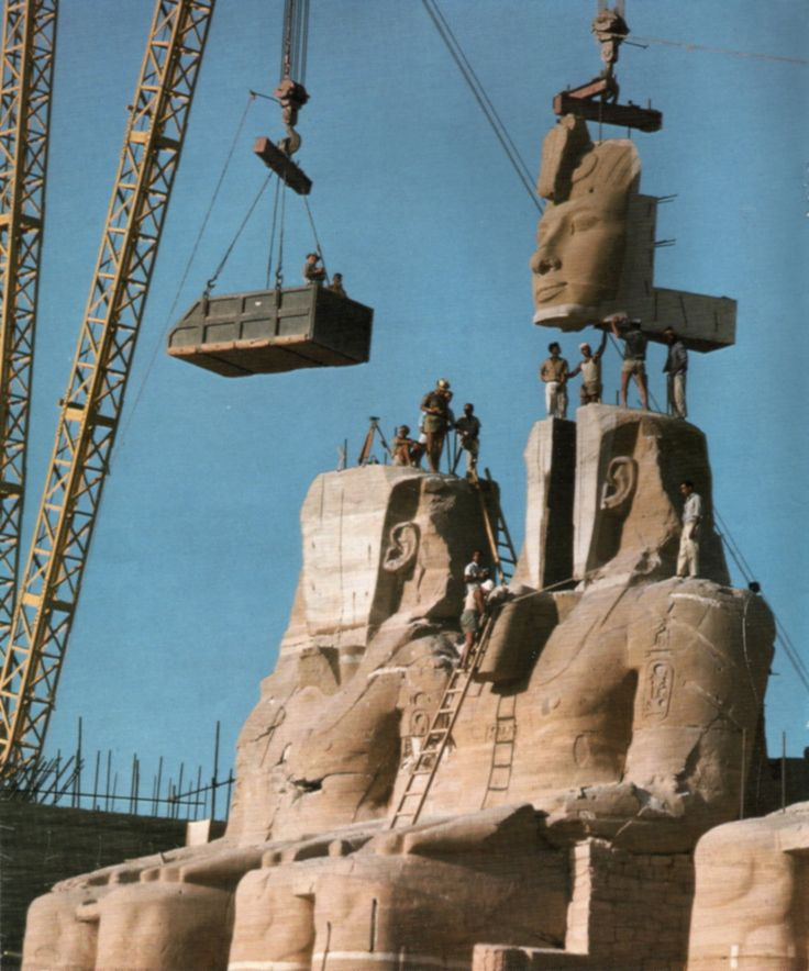 The statue ofRamessesthe Great at the Temple of Abu Simbel in the process of being reassembled after needing to be relocated in 1976 to sa...